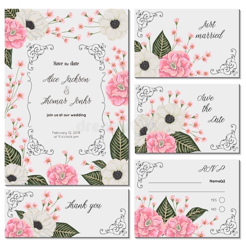 Sparen de datumkaart met roze camelia's, witte anemoonbloemen en alstroemeria Vakantie bloemenontwerp voor huwelijksuitnodiging royalty-vrije illustratie