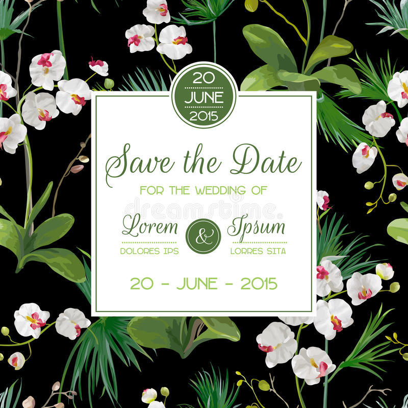 Sparen de datumkaart Tropische van Orchideebloemen en Bladeren Huwelijksuitnodiging stock illustratie