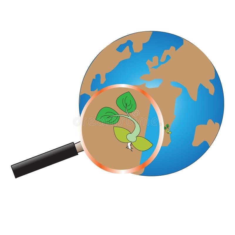 Sparen de groene planeet stock afbeelding