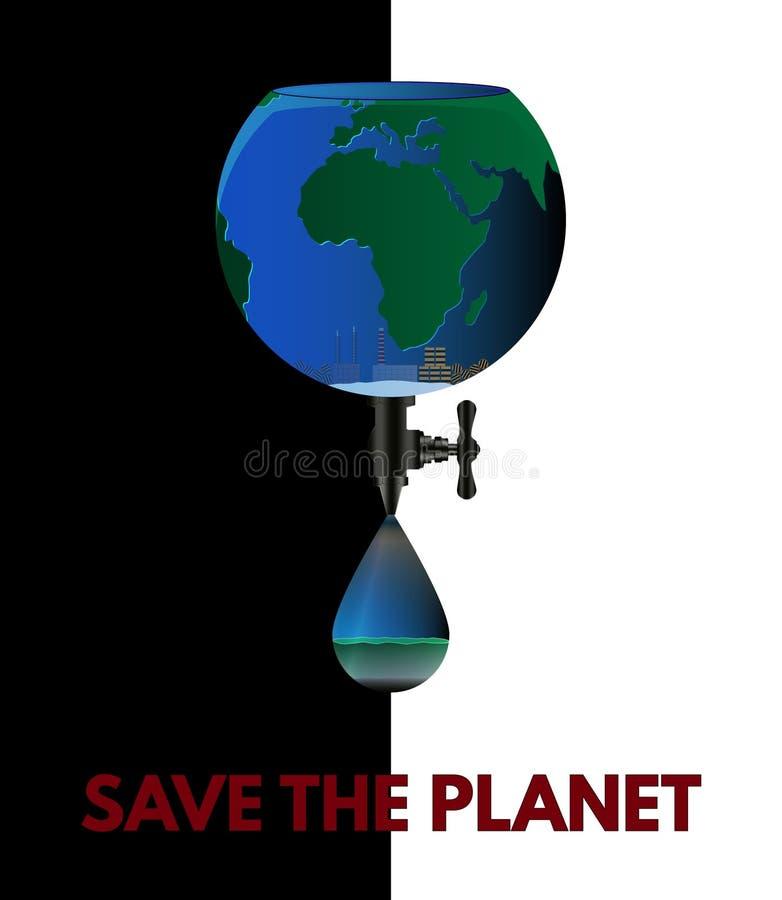 Sparen de Planeet Ecoaffiche op zwart-witte achtergrond royalty-vrije illustratie