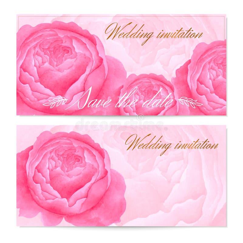 Sparen de uitnodiging van het Datumhuwelijk/de Bloemengroetkaart (Giftcertificaat/coupon) met de vectorpioenen van waterverfbloem royalty-vrije illustratie