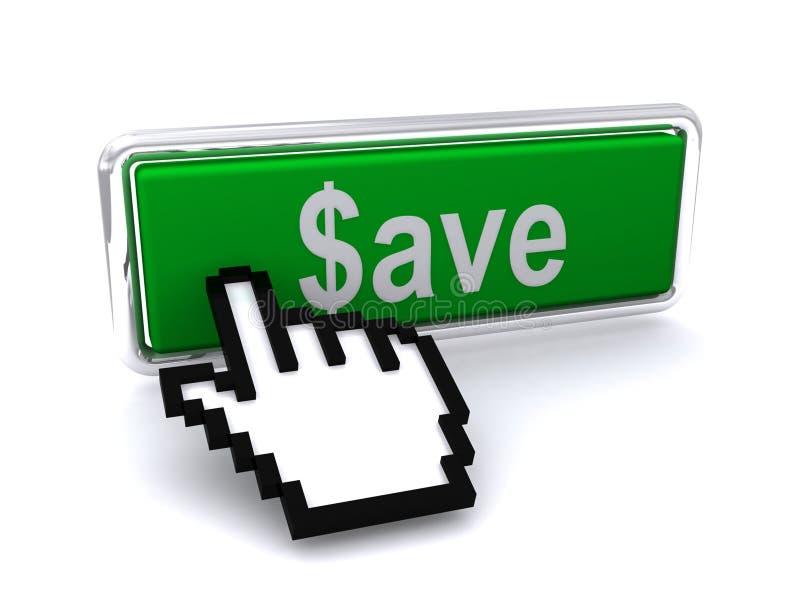 Sparen dollarsknoop en curseur royalty-vrije illustratie