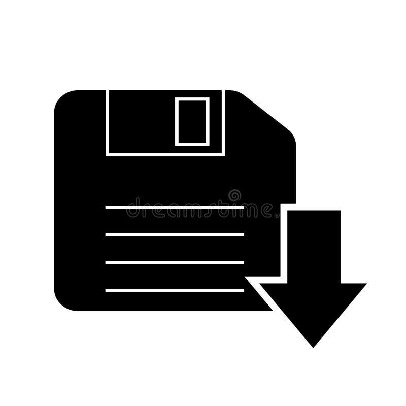 Sparen of Downloadpictogram Zwart die silhouet op witte achtergrond wordt geïsoleerd stock illustratie