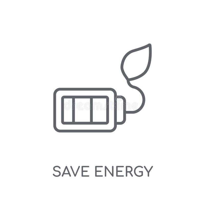Sparen energie lineair pictogram Het moderne overzicht bewaart het concept van het energieembleem royalty-vrije illustratie