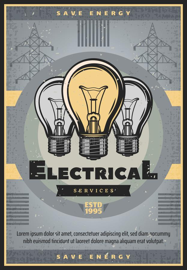 Sparen energie retro banner van de elektrodienst stock illustratie