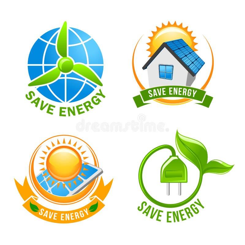Sparen energie, zonne, wind, het symboolreeks van de ecomacht vector illustratie