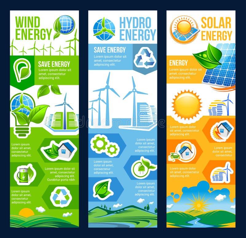 Sparen energiebanner van zonne, wind en hydromacht vector illustratie