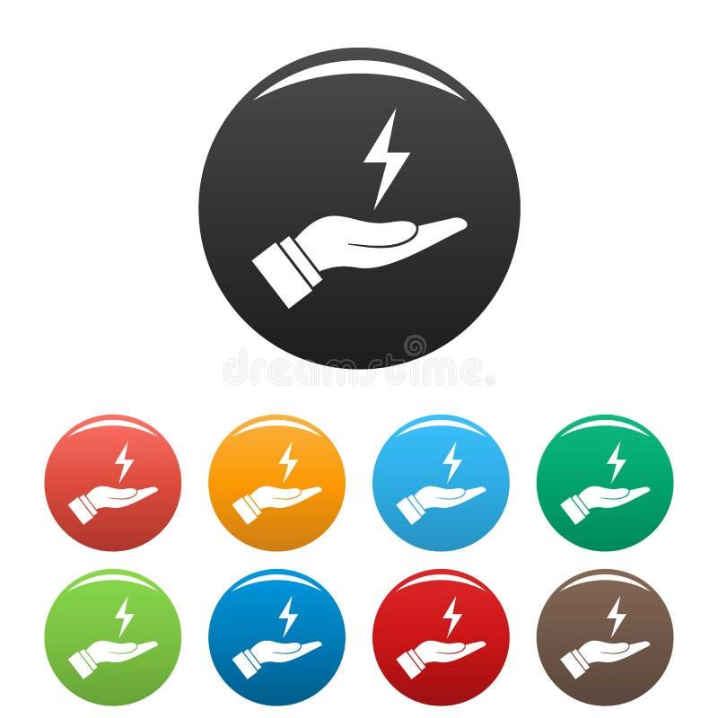 Sparen energiepictogrammen geplaatst kleur vector illustratie