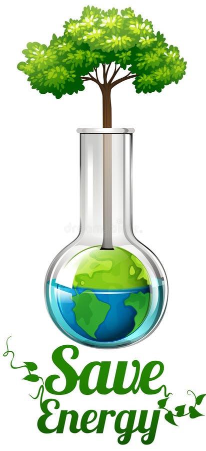 Sparen energieteken met boom in fles royalty-vrije illustratie