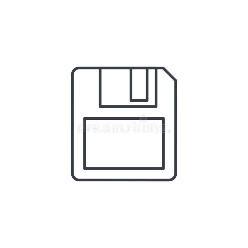 Sparen gegevens, pictogram van de diskette het dunne lijn Lineair vectorsymbool royalty-vrije illustratie