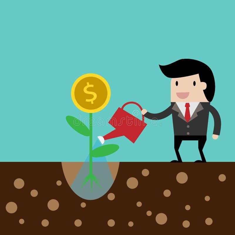 sparen geld voor investeringsconcept, beeldverhaalzakenman met geld in zijn te bewaren hand beeldverhaalillustratie voor zaken de royalty-vrije illustratie