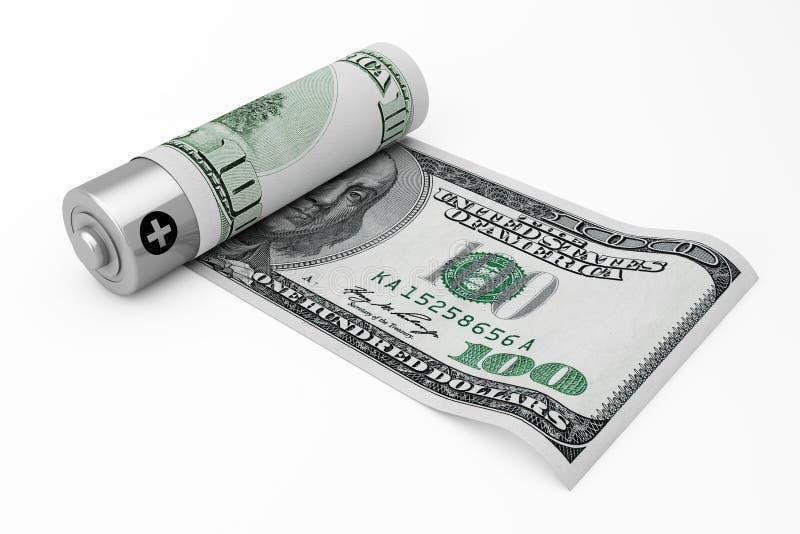 Sparen geldconcept Navulbare die Batterij met Dollar wordt behandeld niet stock illustratie