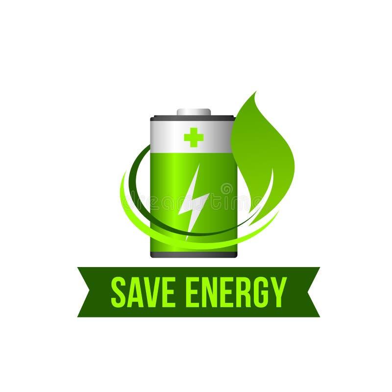 Sparen groen de batterij vectorpictogram van het energieblad royalty-vrije illustratie