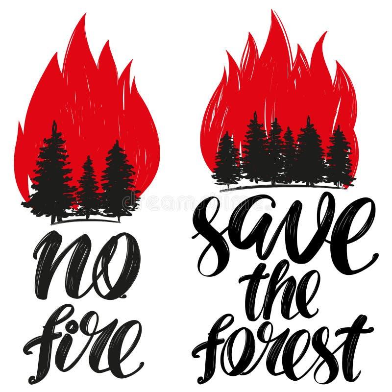 Sparen het bos, geen brandembleem, kalligrafische tekst, hand getrokken vectorillustratie realistische schets vector illustratie
