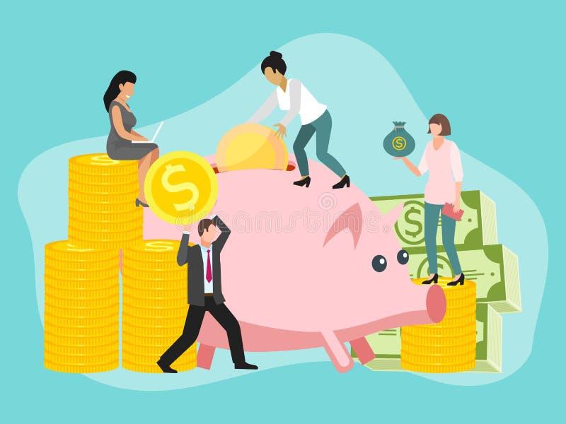Sparen het concepten vectorillustratie van geldmensen Het muntstukvarken van de besparingsdollar Geldcharcters met gouden contant royalty-vrije illustratie