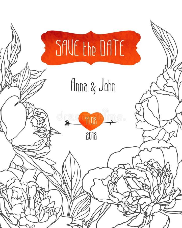 Sparen het datummalplaatje met en de pioen De uitnodiging van het huwelijk royalty-vrije illustratie