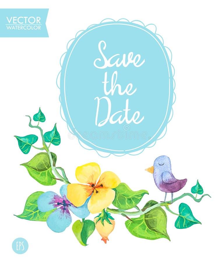 Sparen het malplaatje van de Datumkaart met romantische de zomerbloemen en leuke vogel stock illustratie