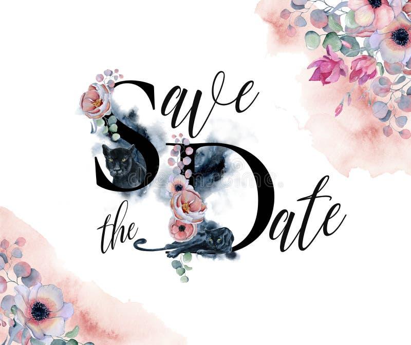 Sparen het malplaatje van de datumkaart met waterverf zwarte panters en bloemenboeketten stock illustratie