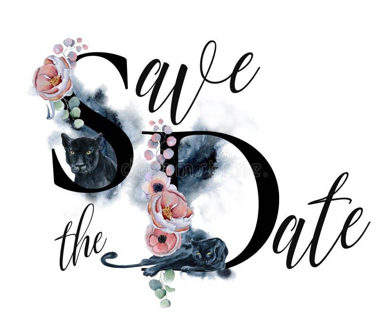 Sparen het malplaatje van de datumkaart met waterverf zwarte panters en bloemenboeketten royalty-vrije illustratie