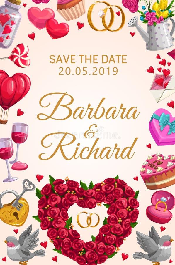 Sparen het van Datumtrouwringen en bloemen hart stock illustratie