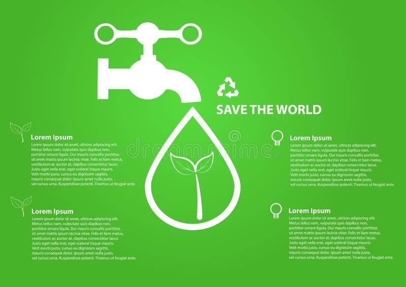 Sparen het waterdalingen van het wereldpictogram met tapkraan royalty-vrije illustratie