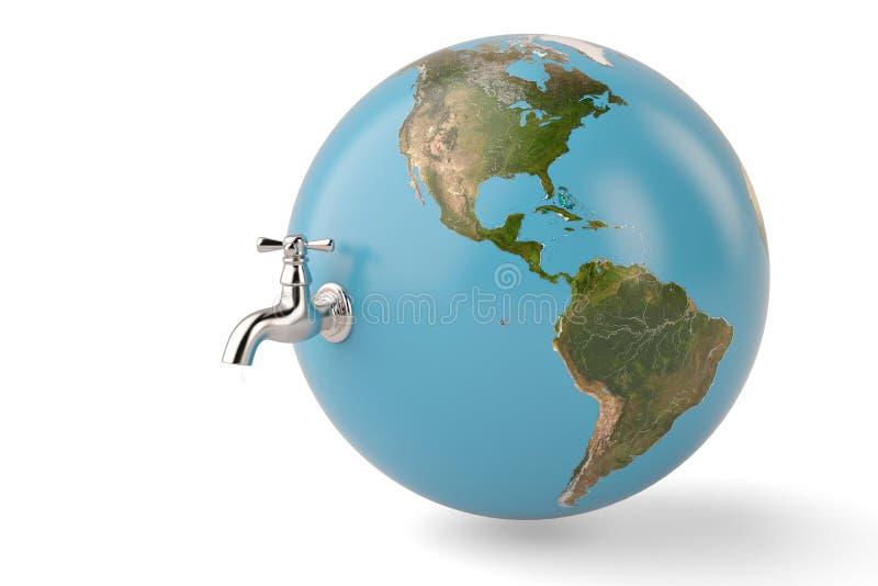 Sparen het waterkraan van het waterconcept met aardebol op wit wordt geïsoleerd dat stock illustratie