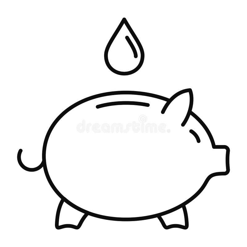 Sparen het waterpictogram van het spaarvarken, overzichtsstijl stock illustratie