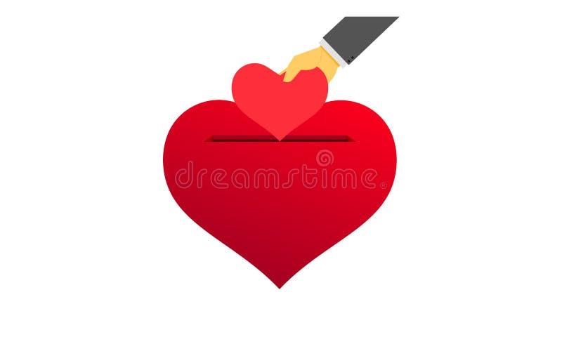 Sparen liefde de hand zette een klein hart in het spaarvarken Vectorillustraion EPS10 stock illustratie