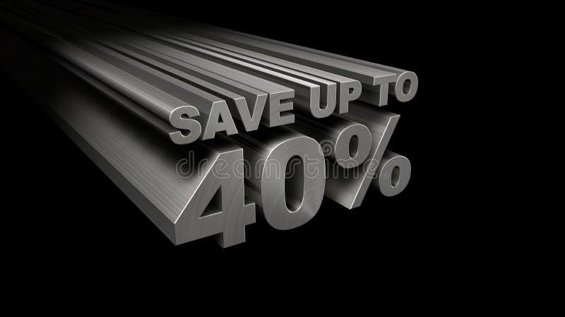 SPAREN MAXIMAAL 40% HOOGSTE MENING stock foto's