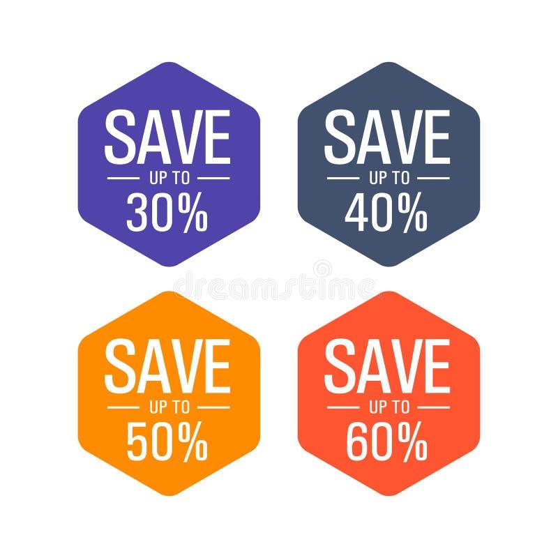 Sparen maximaal 30%, 40%, 50%, 60%-markering, etiket royalty-vrije illustratie
