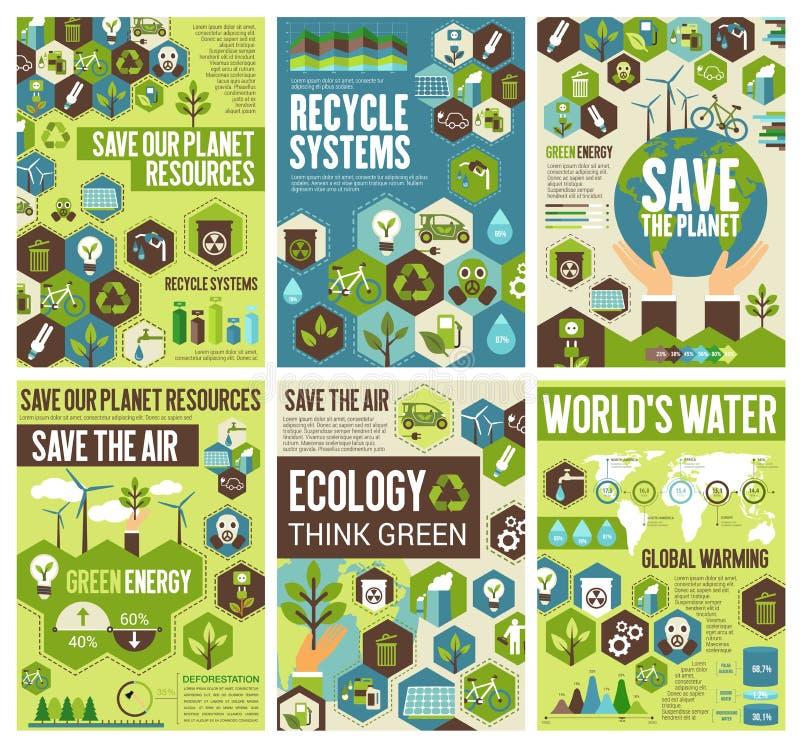 Sparen milieuaarde, lucht en aard royalty-vrije illustratie