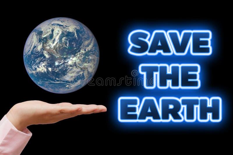 Sparen onze aarde Ecologieconcept (de Dag van het Wereldmilieu of Aardedag) royalty-vrije stock fotografie