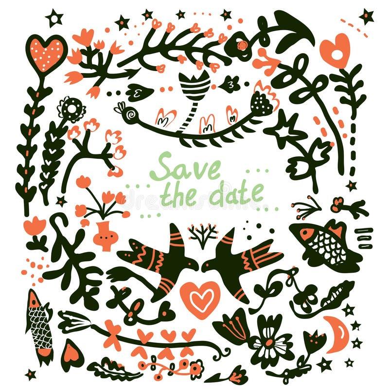 Sparen Sie das Datum, das Blumenkarte heiratet lizenzfreie abbildung