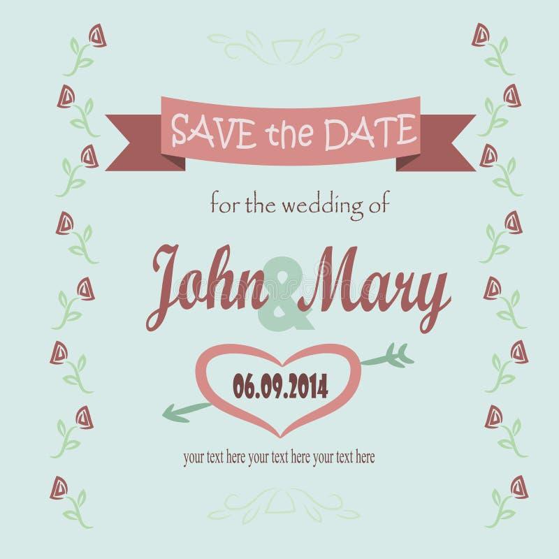 Sparen Sie das Datum für die Hochzeit stock abbildung