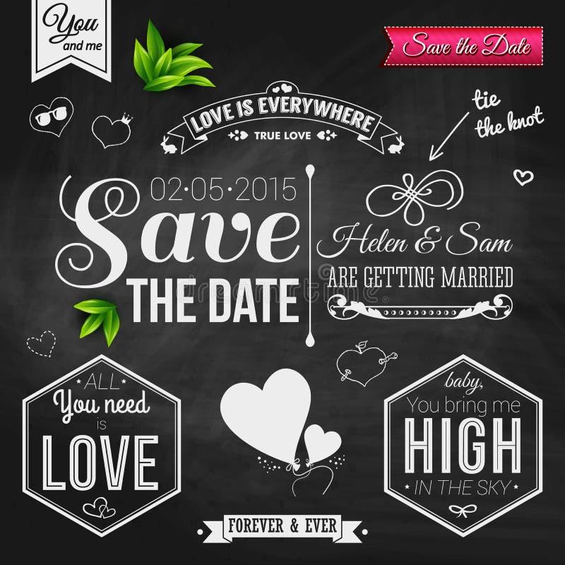 Sparen Sie das Datum für persönlichen Feiertag Hochzeitseinladung auf chalkb lizenzfreies stockbild