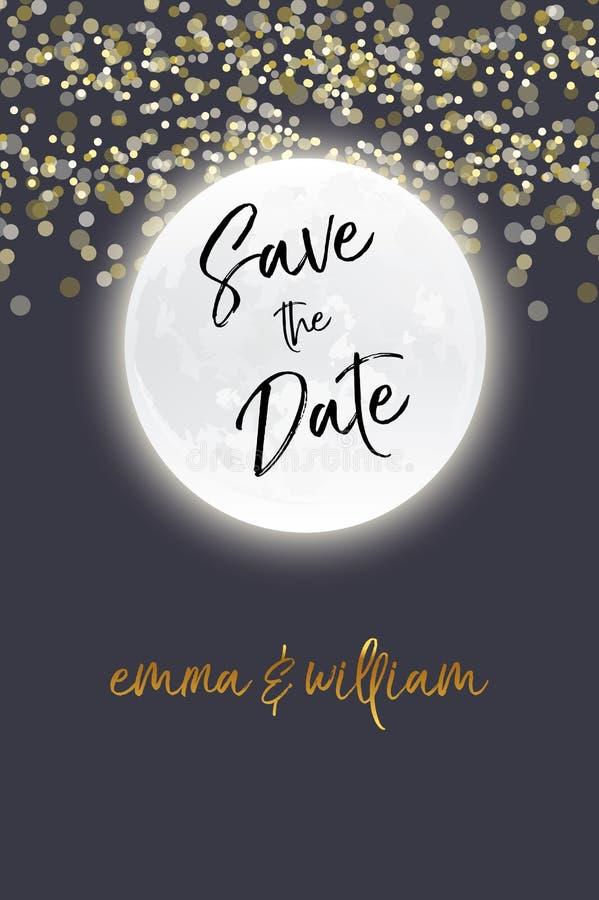 Sparen Sie das Datum mit Sternen und Mond Lieben Sie Sie zum Mond und zur Rückseite Moderner Kalligraphievektor ENV 10 Auch im co lizenzfreie abbildung