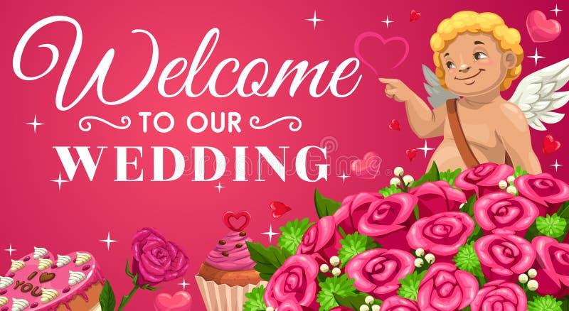 Sparen Sie das Datum und Einladung heiraten Amor, Blumen lizenzfreie abbildung
