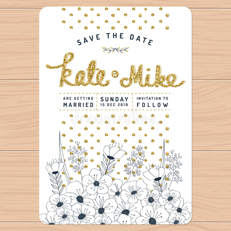 Sparen Sie das Datum und Einladungskarte mit Hand gezeichneter Blumen- und goldener Funkelndekoration der Blume heiraten Blumenbl lizenzfreie abbildung