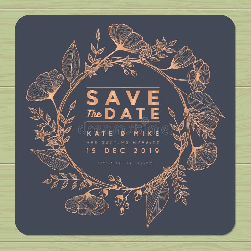 Sparen Sie das Datum und Einladungskarte mit Kranzblumenschablone heiraten Blumenblumenhintergrund stock abbildung