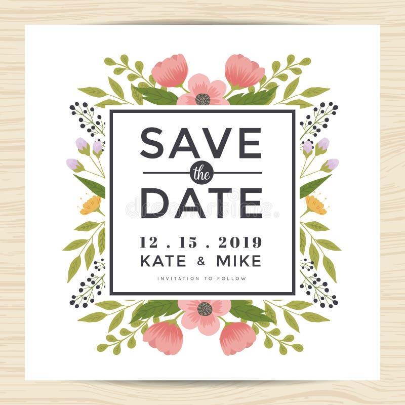 Sparen Sie das Datum und Einladungskartenschablone mit Hand gezeichneter Kranzblumen-Weinleseart heiraten Blumenblumenhintergrund vektor abbildung