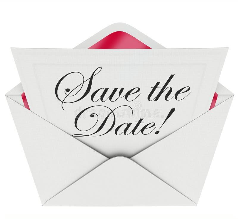 Sparen Sie den Datums-Einladungs-Parteiversammlungs-Ereignis-Umschlag-Zeitplan vektor abbildung