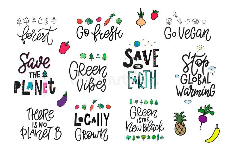 Sparen Sie die Druck-Zitatbeschriftung des Planeten-Erdstrengen vegetariers lizenzfreie abbildung