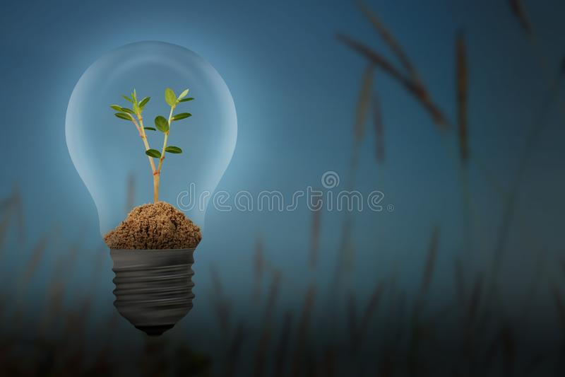 Sparen Sie Energie mit dem Lampen- und Betriebsbirnenkonzept lizenzfreie abbildung