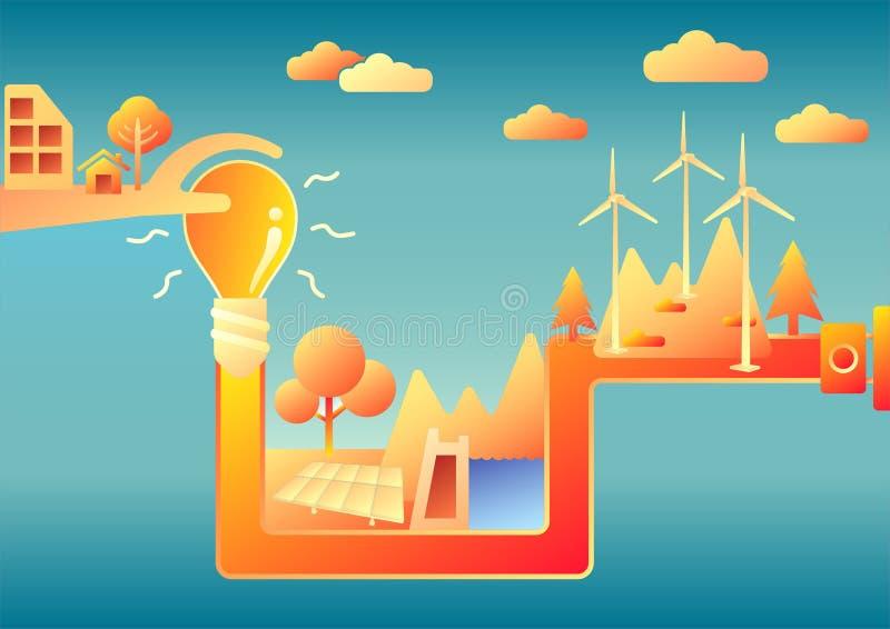 Sparen Sie Energie, retten Sie die Erde vektor abbildung