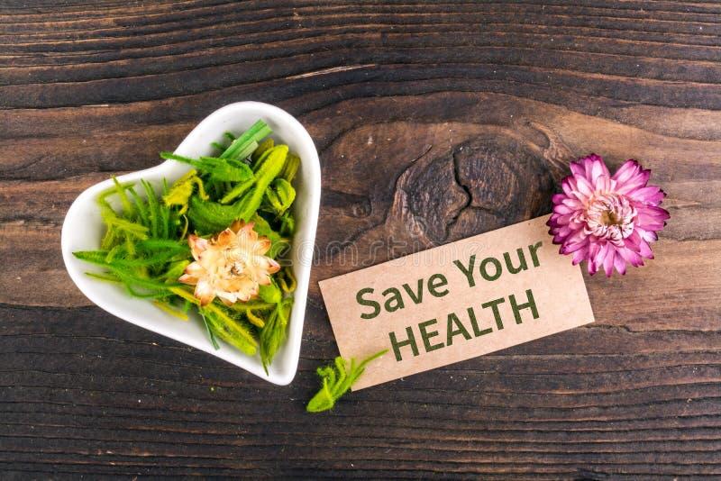 Sparen Sie Ihren Gesundheitstext auf Karte lizenzfreies stockbild