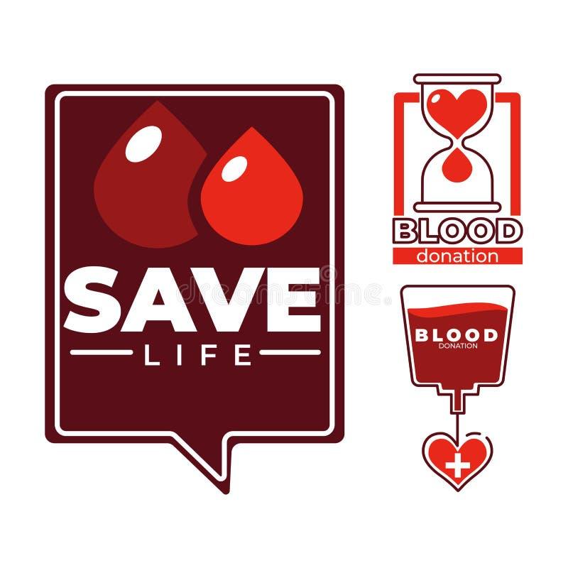 Sparen Sie Lebenblutspendennächstenliebe und ärztliche Betreuung lokalisierte Ikonen lizenzfreie abbildung