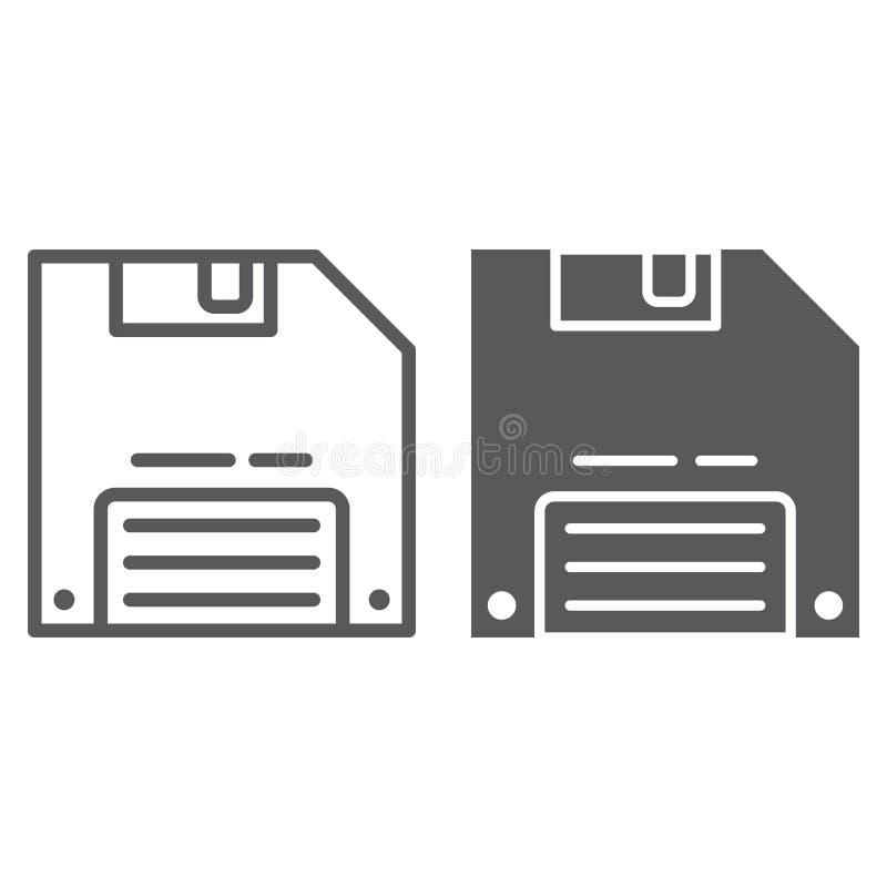 Sparen spellijn en glyph pictogram, gegevens en schijf, disketteteken, vectorafbeeldingen, een lineair patroon op een witte achte royalty-vrije illustratie