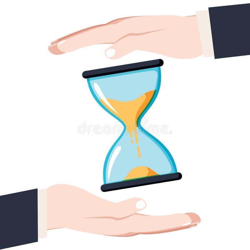 Sparen tijdconcept De zakenman in handen houdt een horloge, alar stock illustratie
