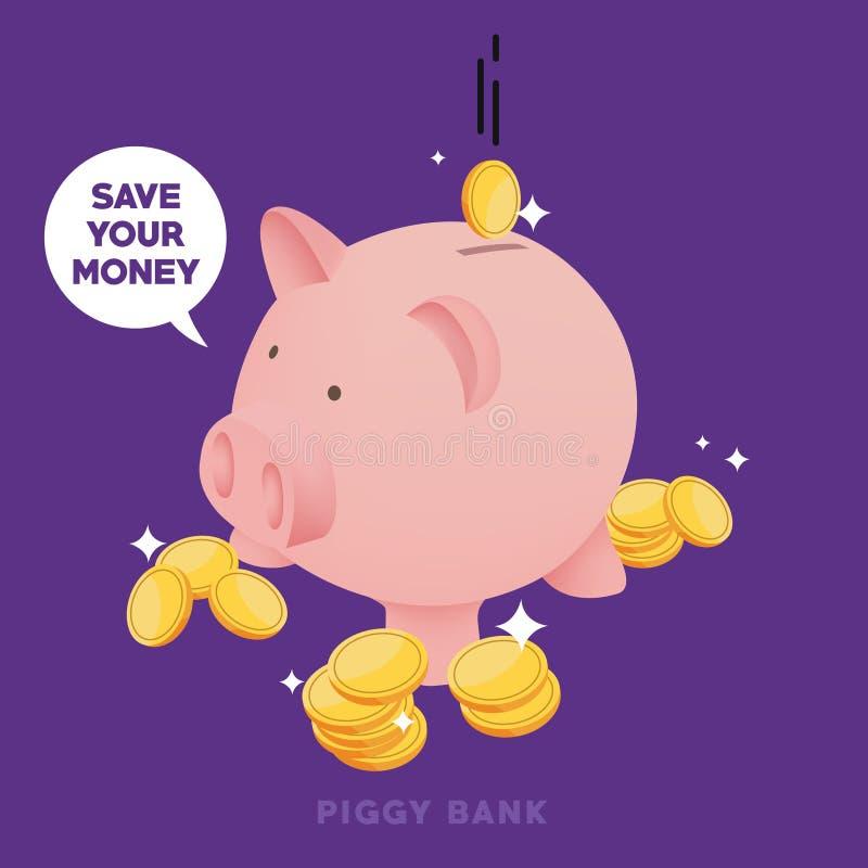 Sparen uw geld op leuk spaarvarken en word rijk royalty-vrije illustratie