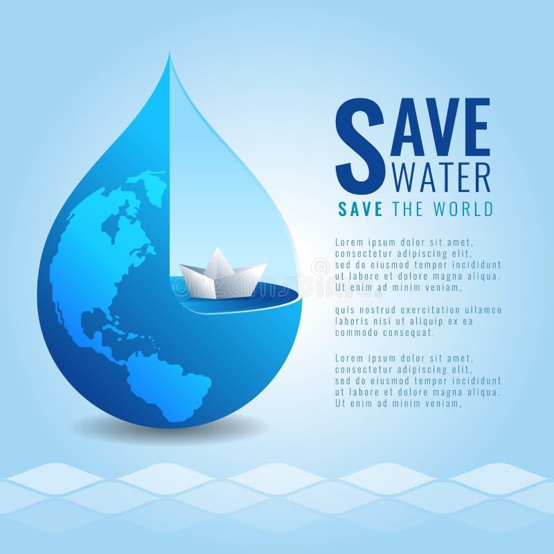 Sparen water bewaar het wereldconcept met Document boot in van de dalingswater en aarde kaarttextuur op de abstracte achtergrond  stock illustratie